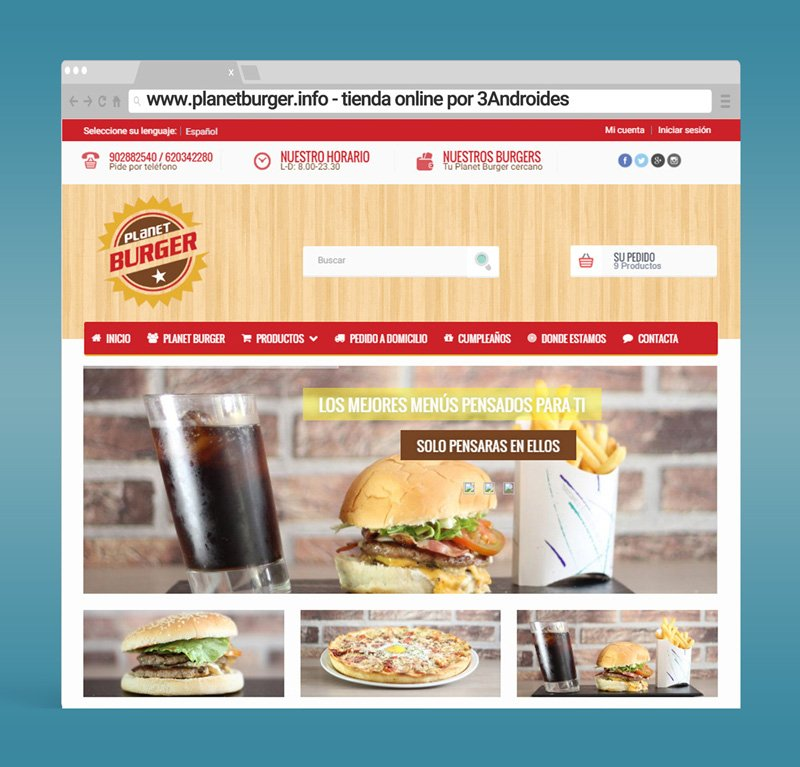 Página web Planet Burger